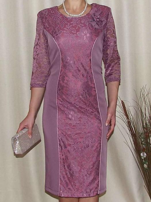 Rochie eleganta din stofa si dantela - Antonia Mov [0]
