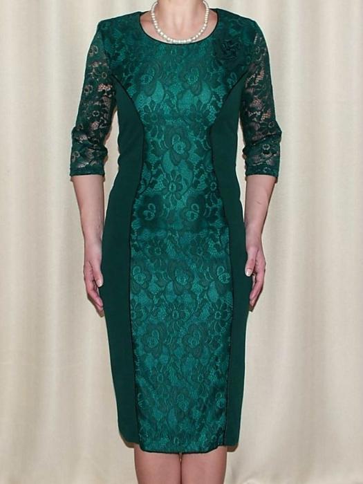 Rochie eleganta din stofa si dantela cu brosa - Antonia Verde 0