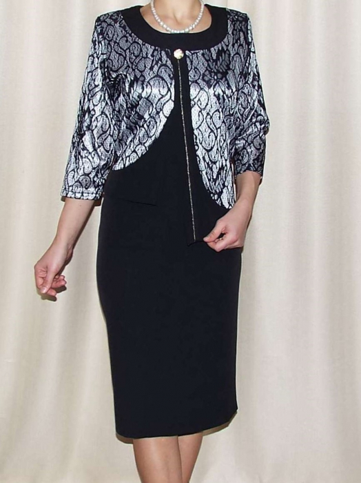 Rochie eleganta din stofa si dantela - Dorina Negru 0