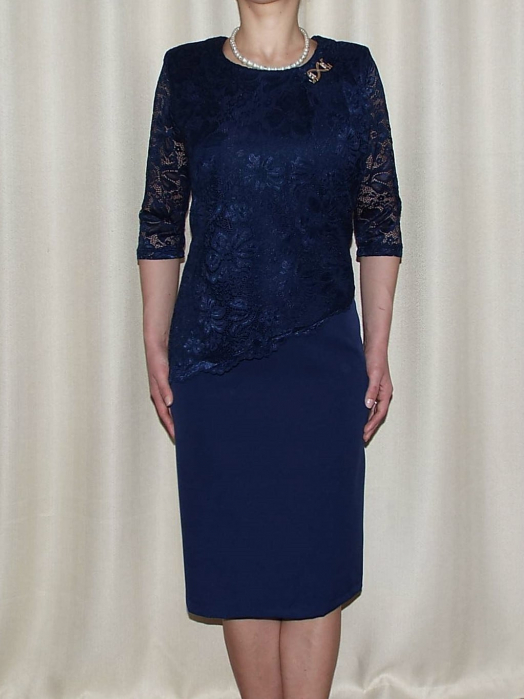 Rochie eleganta din stofa si dantela - Octavia Bleumarin 0