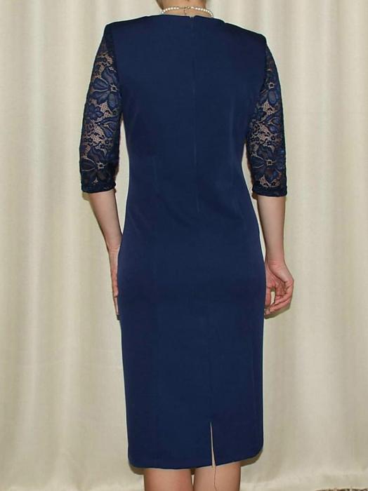 Rochie eleganta din stofa si dantela - Octavia Bleumarin 1