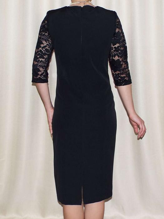 Rochie eleganta din stofa si dantela - Octavia Negru 2