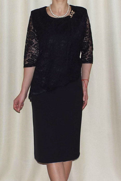 Rochie eleganta din stofa si dantela - Octavia Negru 1
