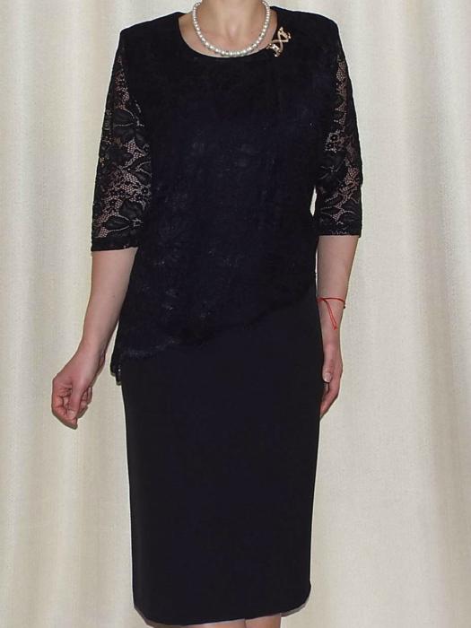 Rochie eleganta din stofa si dantela - Octavia Negru 0