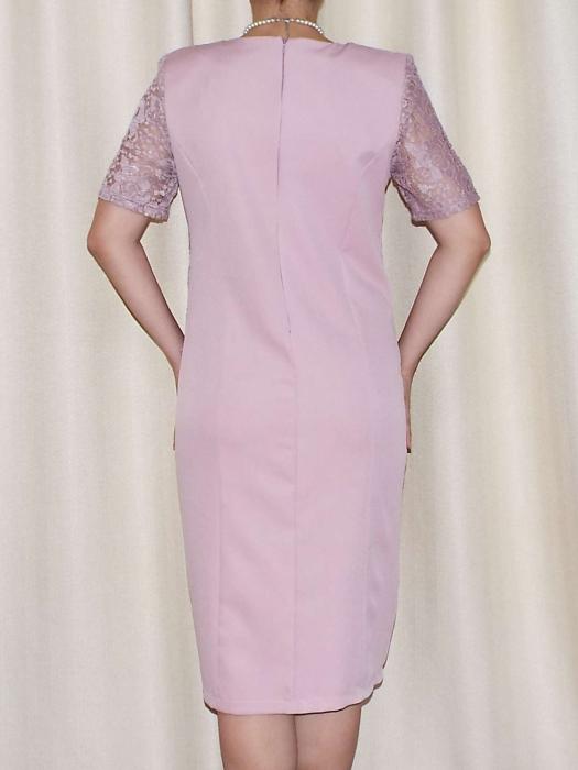 Rochie eleganta din stofa si dantela - Octavia Roz Pudra [1]