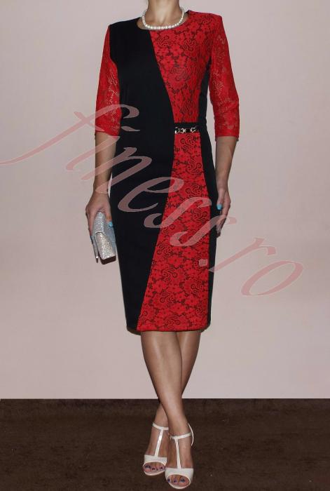 Rochie eleganta din stofa si dantela - Selena Rosu 0