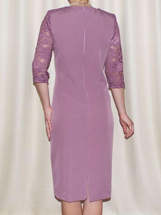 Rochie eleganta din stofa si dantela - Veronica Mov Lila 1