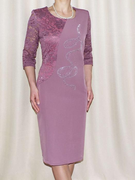 Rochie eleganta din stofa si dantela - Veronica Mov Lila 0