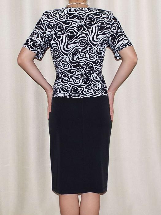 Rochie eleganta din stofa si vascoza cu accesoriu - Luciana 1