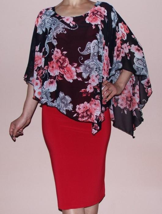 Rochie eleganta din vascoza si voal cu imprimeu - Celia Rosu 0