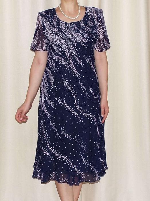 Rochie eleganta din voal bleumarin cu imprimeu  - Alexandra 7 [2]