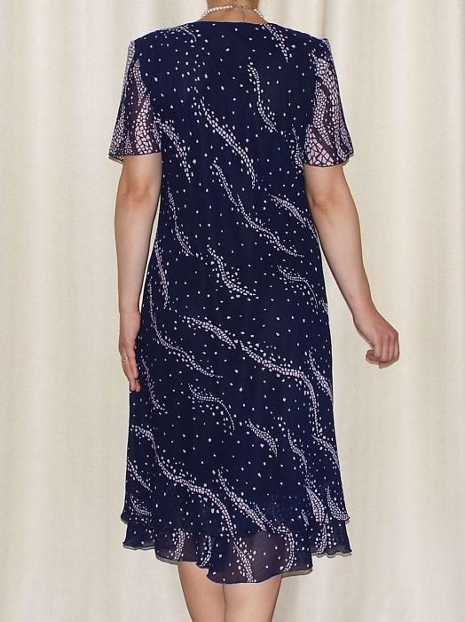 Rochie eleganta din voal bleumarin cu imprimeu  - Alexandra 7 [1]
