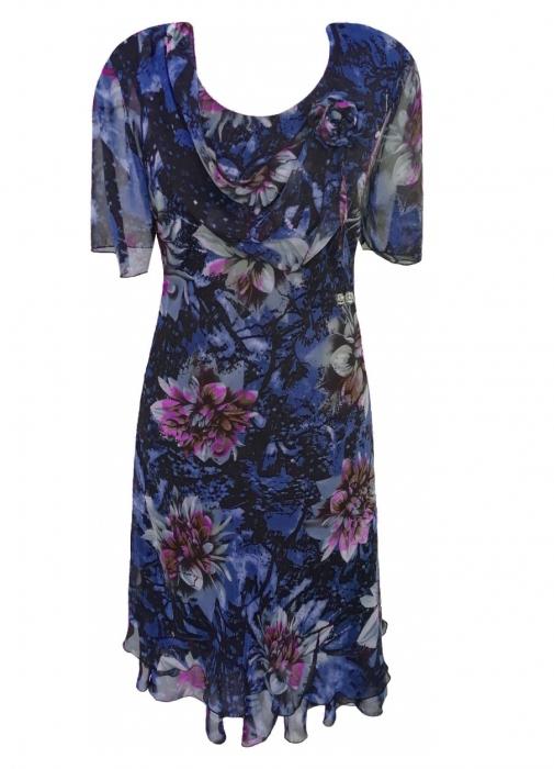 Rochie eleganta din voal cu imprimeu floral - Flavia Albastru 1