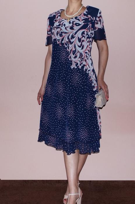 Rochie eleganta din voal cu imprimeu si maneca scurta - Otilia Buline 0
