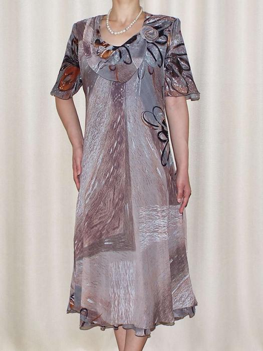 Rochie eleganta din voal cu imprimeu - Victoria Gri 0