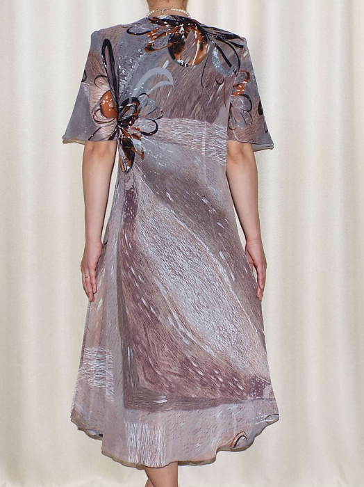 Rochie eleganta din voal cu imprimeu - Victoria Gri 1