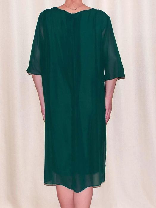 Rochie eleganta din voal cu pliuri si accesoriu la gat - Ileana Verde 1