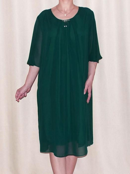 Rochie eleganta din voal cu pliuri si accesoriu la gat - Ileana Verde 0