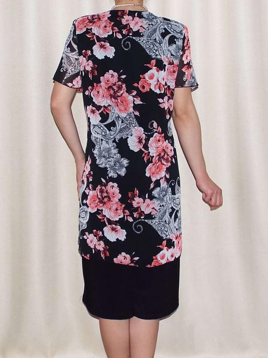 Rochie eleganta din voal imprimat si vascoza - Ruxandra Floral 1