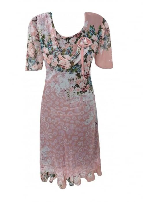 Rochie eleganta din voal roz pudra cu imprimeu - Flavia Floral 1