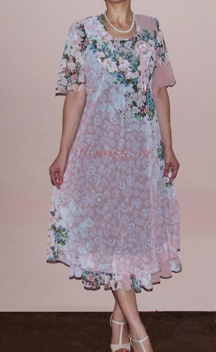 Rochie eleganta din voal roz pudra cu imprimeu - Flavia Floral 0