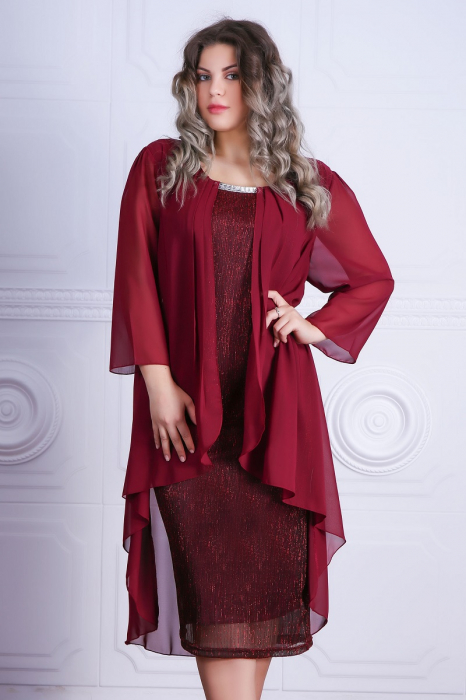 Rochie eleganta din voal si lame plisat cu accesoriu - Lorena Grena [0]