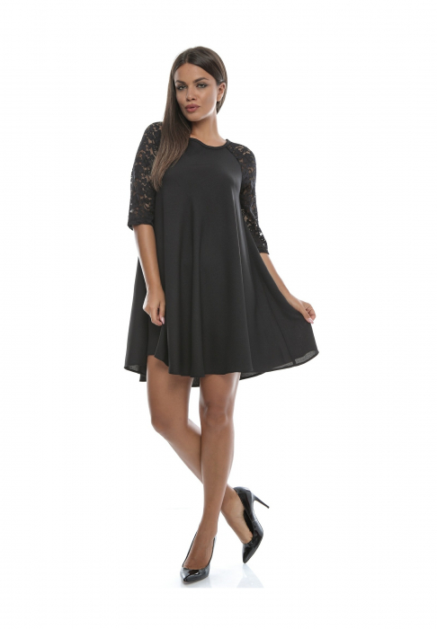 Rochie eleganta neagra cu croi lejer si maneca trei sferturi - R520 0