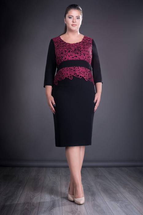 Rochie eleganta neagra cu dantela macrame grena - Jordan 0