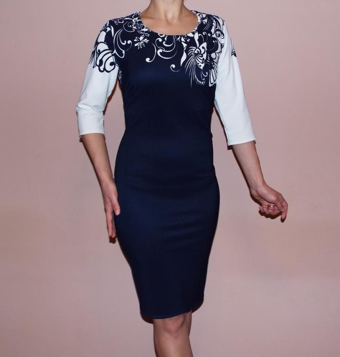 Rochie eleganta neagra cu imprimeu floral alb - Miruna 0