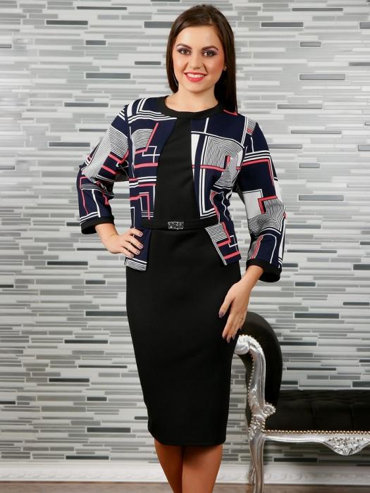 Rochie eleganta neagra cu imprimeu si accesoriu - Rebeca 2 0