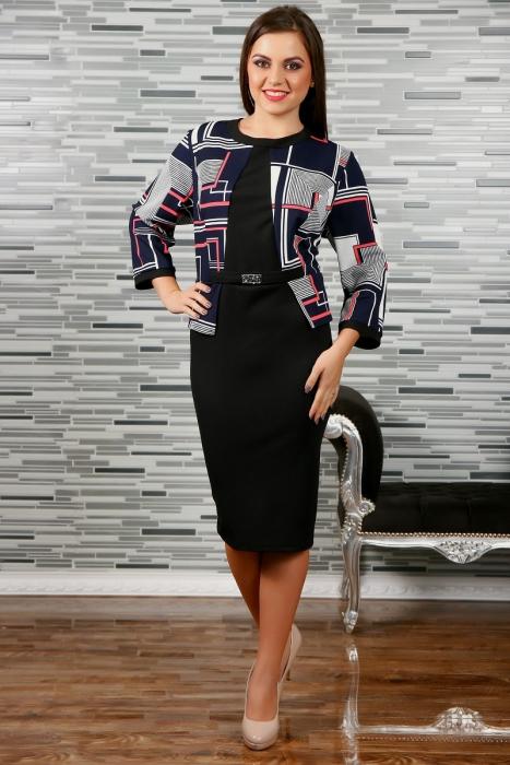 Rochie eleganta neagra cu imprimeu si accesoriu - Rebeca 2 2