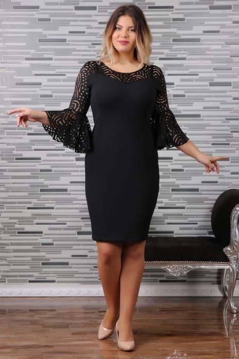 Rochie eleganta neagra cu maneca clopot - Sabrina 0