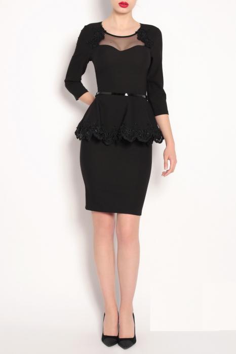 Rochie eleganta neagra cu peplum si maneca trei sferturi - ZIA 0