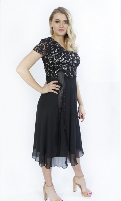 Rochie eleganta neagra din dantela si voal cu funda - Lorena 0