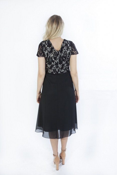 Rochie eleganta neagra din dantela si voal cu funda - Lorena 1