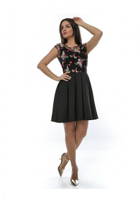 Rochie eleganta neagra din jerse si broderie florala - R625 0