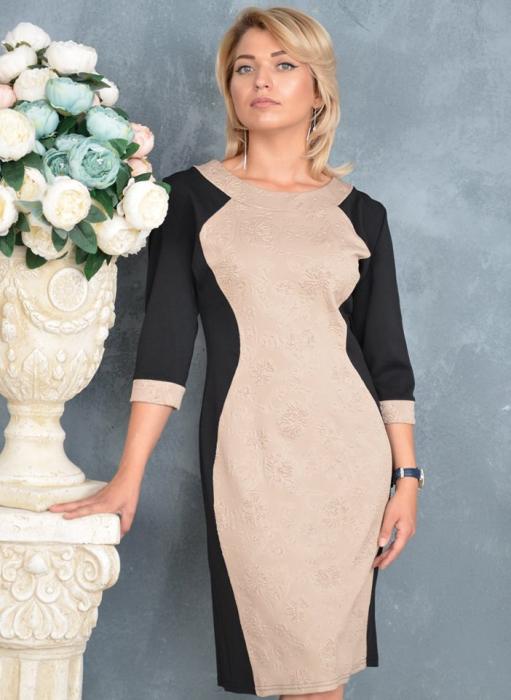 Rochie eleganta negru/bej cu maneca trei sferturi - Laura Bej 0