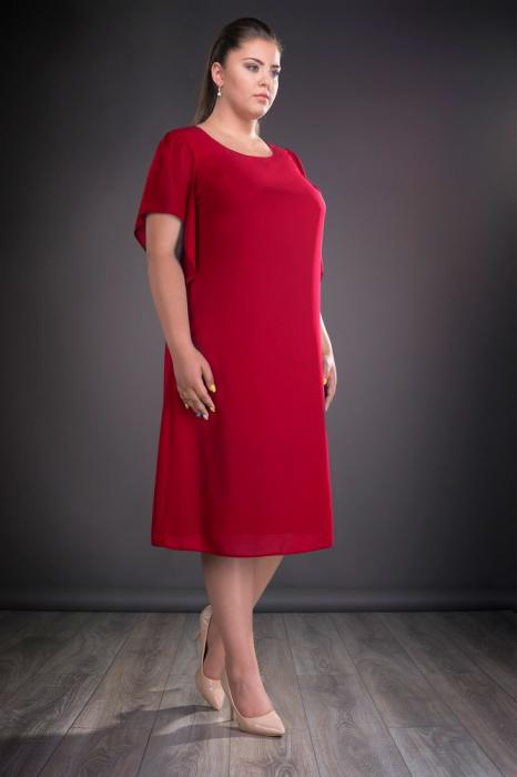 Rochie eleganta rosie cu croi lejer si maneca scurta - Casiana 0