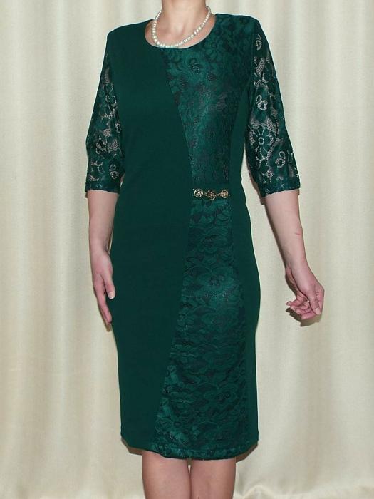 Rochie eleganta verde din stofa si dantela - Catrinel 0