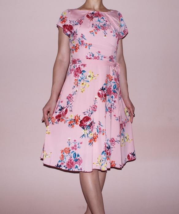 Rochie in clos cu imprimeu floral si maneca scurta - Violeta Roz 0