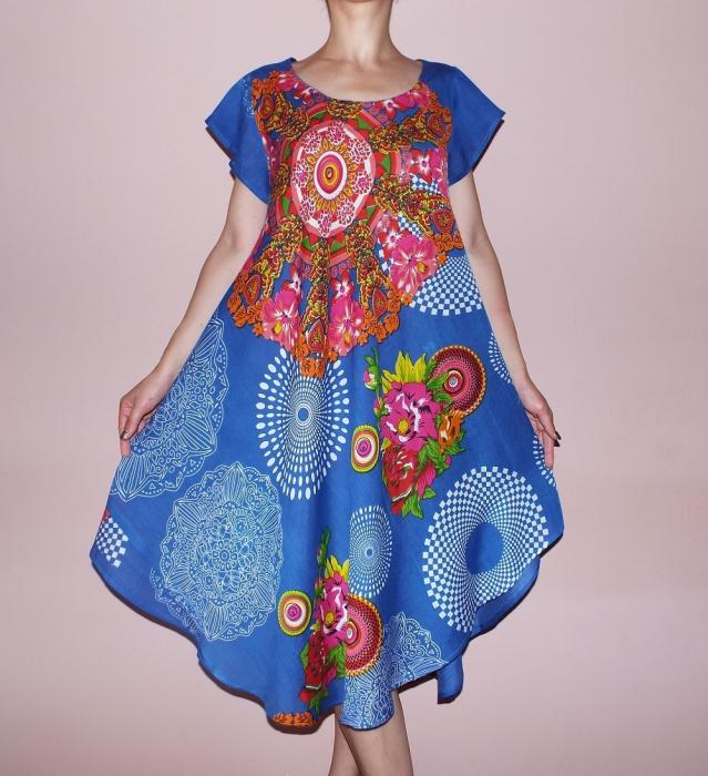 Rochie lejera cu imprimeu si maneca scurta - Adelina Albastru 0