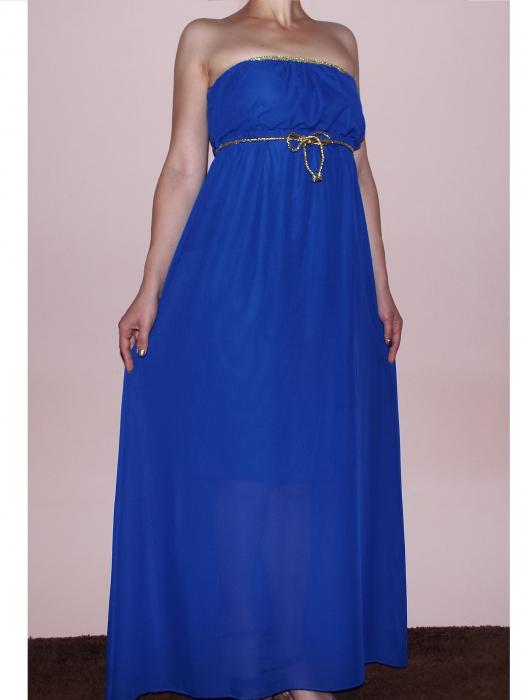 Rochie lunga din voal albastru cu cordon auriu - Adela 0