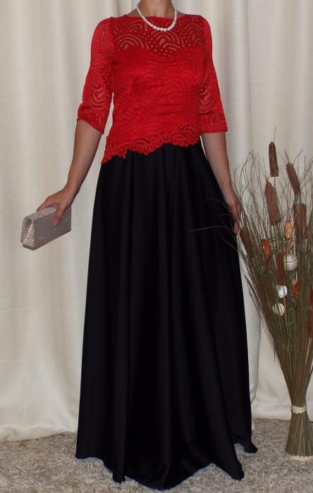Rochie lunga eleganta cu maneca trei sferturi - Tina Rosu 0