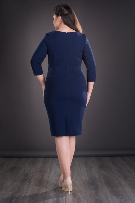 Rochie midi bleumarin cu accesoriu si maneca trei sferturi - Sofia 1