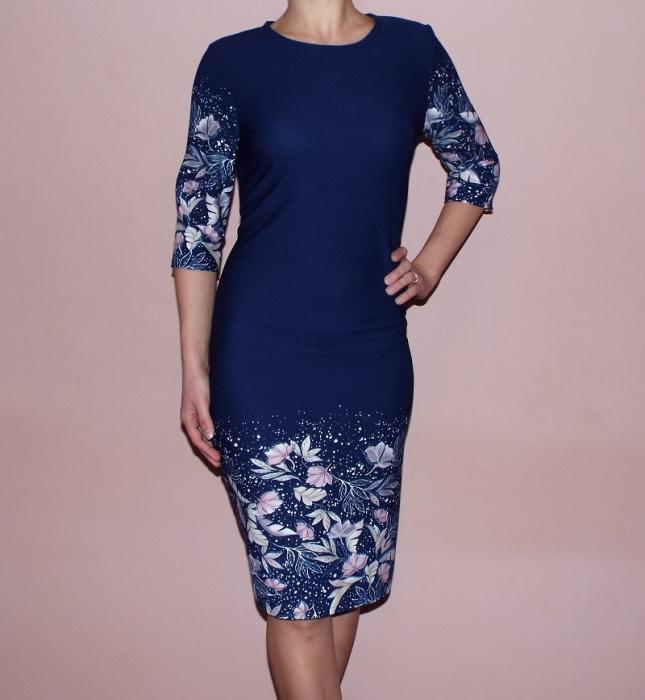 Rochie midi bleumarin cu imprimeu floral - Monica 0