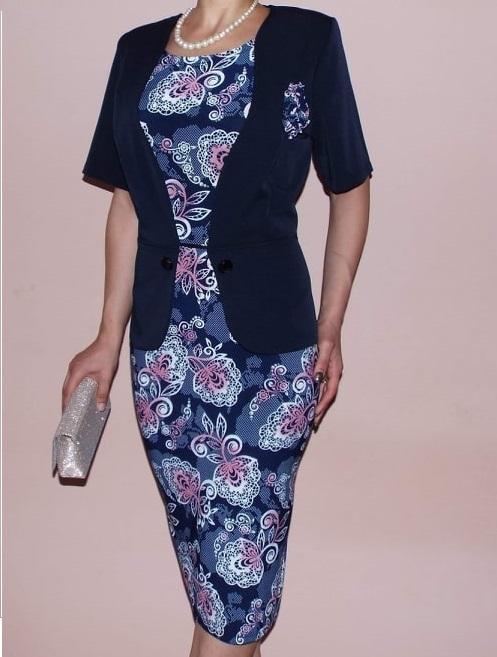 Rochie midi bleumarin cu imprimeu si maneca scurta - Alisa 0