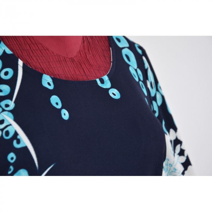 Rochie midi bleumarin cu imprimeu si maneca trei sferturi - Aida Turcoaz 1