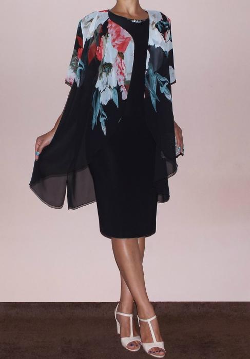 Rochie midi cu accesoriu si blazer din voal - Ama Negru 0