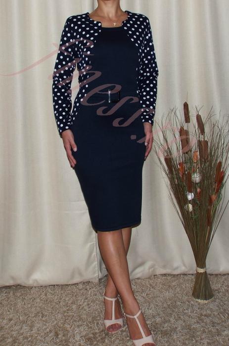 Rochie midi cu accesoriu si maneca lunga - Felicia Bleumarin 0