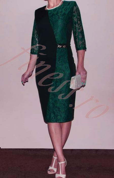Rochie midi cu dantela si maneca trei sferturi - Selena Verde 1